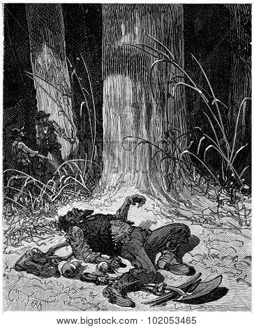 The digger William Dietz starved to death in the woods, vintage engraved illustration. Journal des Voyage, Travel Journal, (1880-81).
