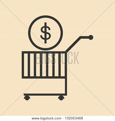 Flat black and white coin in trolley