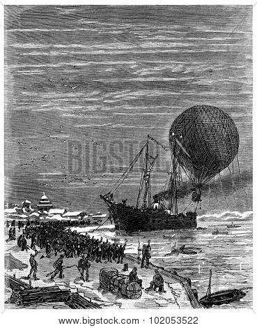 Jacques left the wharf Sitka, vintage engraved illustration. Journal des Voyage, Travel Journal, (1880-81).
