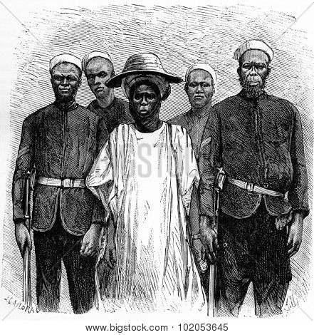 Hausa incurred by the international association, vintage engraved illustration. Journal des Voyage, Travel Journal, (1880-81).