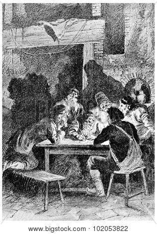 Rostof wrote a letter, vintage engraved illustration. Jules Verne Cesar Cascabel, 1890.
