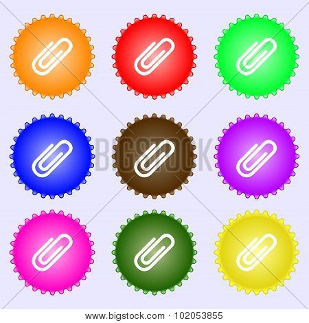 Paper Clip Sign Icon. Clip Symbol. A Set Of Nine Different Colored Labels. Vector