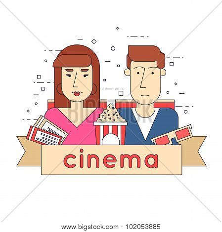 Man and a woman in a movie