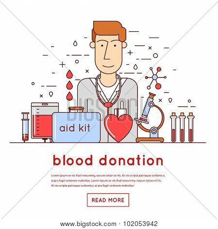 Thin line Doctor takes a blood donation