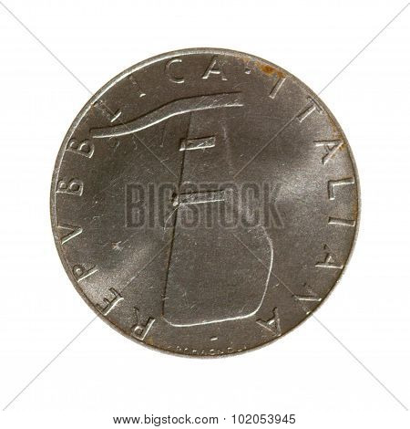 Five Lire Coin Of The Republic Of Italy Isolated On White Background. Top View