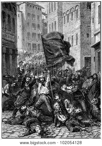Insurrection of Lyon, vintage engraved illustration. History of France  1885.