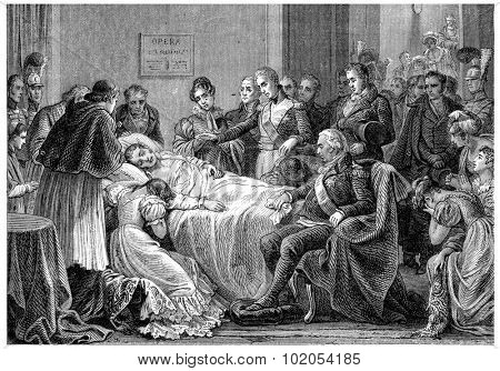 Death of the Duke of Berry, vintage engraved illustration. History of France 1885.