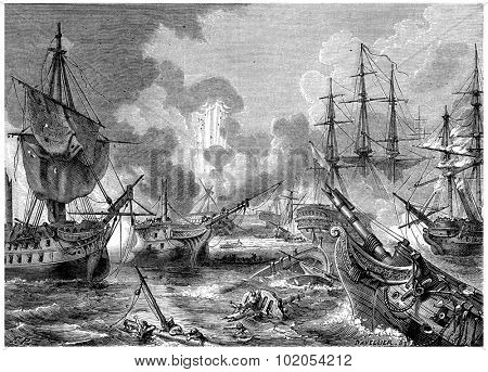 Battle of Navarino, vintage engraved illustration. History of France 1885.
