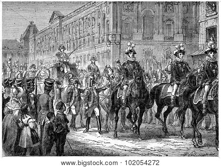 The last pump of the Monarchy, The king went to Notre Dame for the Te Deum, vintage engraved illustration. History of France 1885.