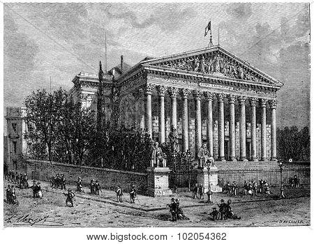 The Legislative Body (Palais Bourbon), vintage engraved illustration. History of France 1885.