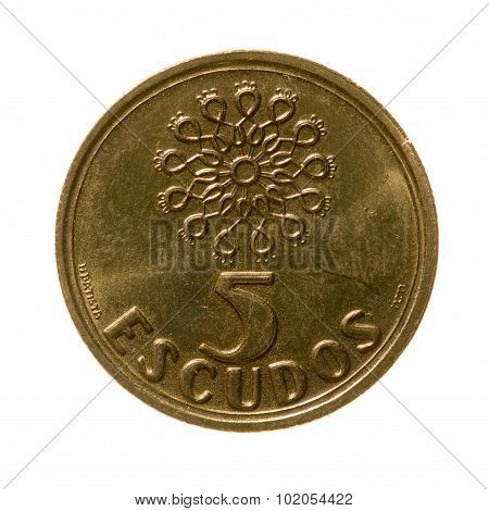 Coin Five Escudos Republic Of Portugal Isolated On A White Background. Top View