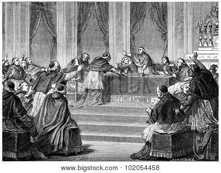 The Council, meeting on 10 July. vintage engraved illustration. History of France  1885.
