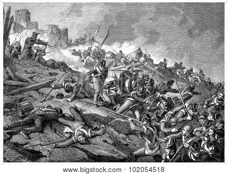 Heroic defense of the castle of Burgos, vintage engraved illustration. History of France 1885.