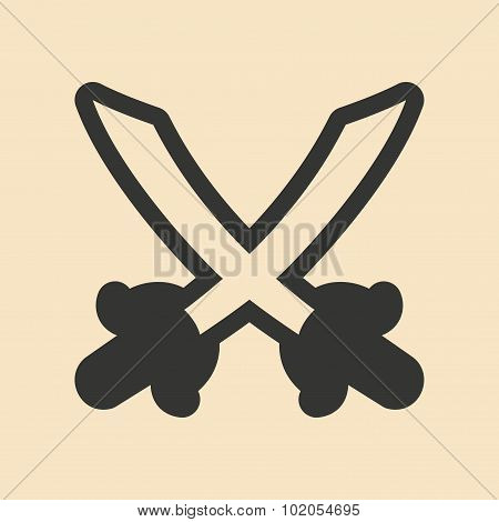Flat in black and white mobile application swords