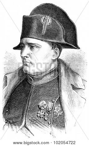 Napoleon, vintage engraved illustration. History of France 1885.