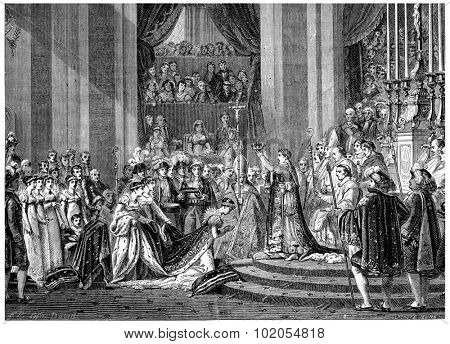 Ceremony of Consecration to Our Lady, vintage engraved illustration. History of France 1885.