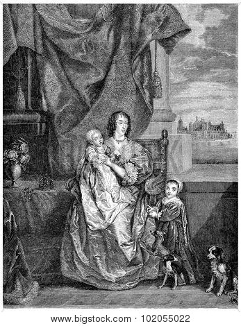 Henrietta Maria of France, vintage engraved illustration.