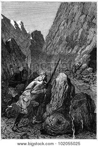 He reaches the entrance of the den, vintage engraved illustration. Jules Verne 3 Russian and 3 English, 1872.