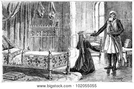 Margaret of Provence in Damietta, vintage engraved illustration.
