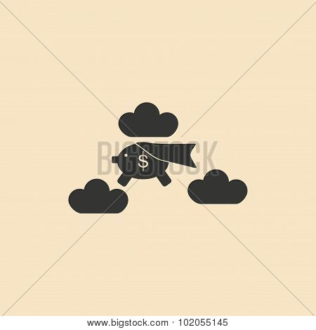Flat black and white piggy bank in the clouds