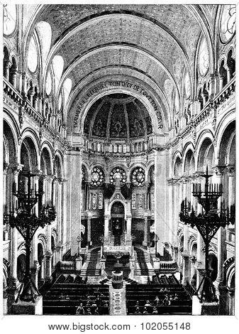 Synagogue Street victory, vintage engraved illustration. Paris - August 1890.