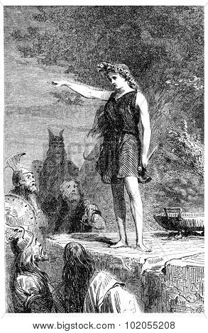A Gallic priestess, vintage engraved illustration.
