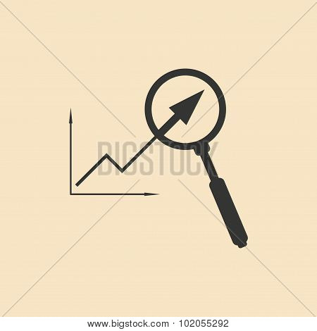 Flat in black white growing graph and magnifier