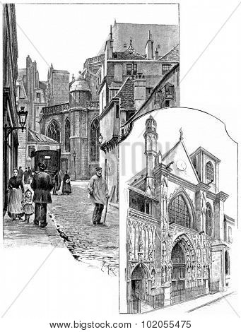 Apse of the church of Saint-Merry, Brisemiche street, Doors of Saint-Merry, rue Saint-Martin, vintage engraved illustration. Paris - Auguste VITU 1890.
