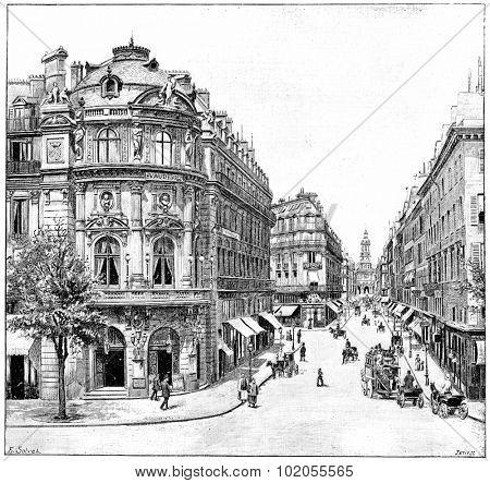 Vaudeville Theatre, Rue de la Chaussee d'Antin, Holy Trinity, vintage engraved illustration. Paris - August 1890.