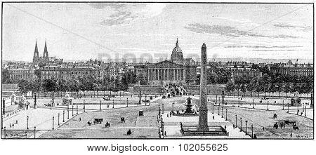 Place de la Concorde, vintage engraved illustration. Paris - Auguste VITU 1890.