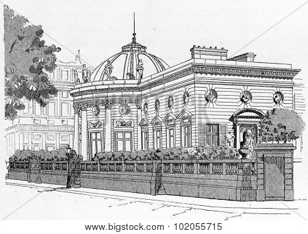 Facade of the Palace of the Legion of Honour on the Quai d'Orsay, vintage engraved illustration. Paris - August 1890.