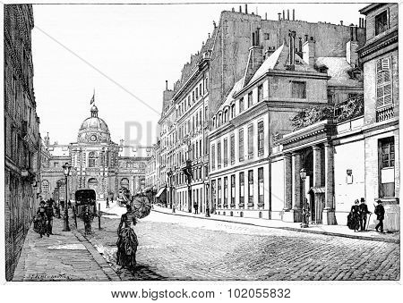 Rue de Tournon and facade of the Palace of the Senate, Barracks of the Republican Guard, vintage engraved illustration. Paris - Auguste VITU  1890.