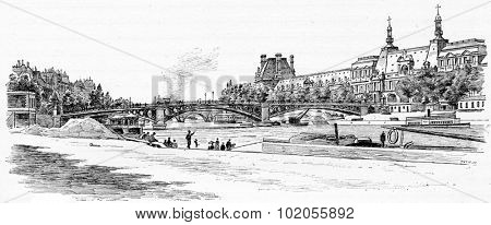 The Pont du Carrousel and the Louvre seen from the dock Malaquais, vintage engraved illustration. Paris - Auguste VITU  1890.