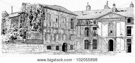 The old buildings of the Gobelins, vintage engraved illustration. Paris - Auguste VITU  1890.