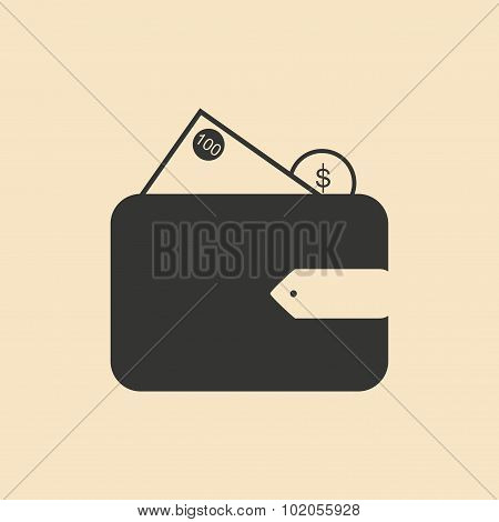 Flat in black and white purse with money