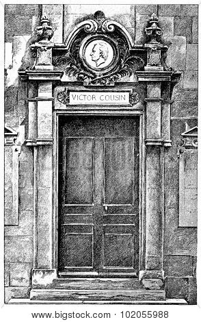 Victor Cousin door, vintage engraved illustration. Paris - Auguste VITU  1890.