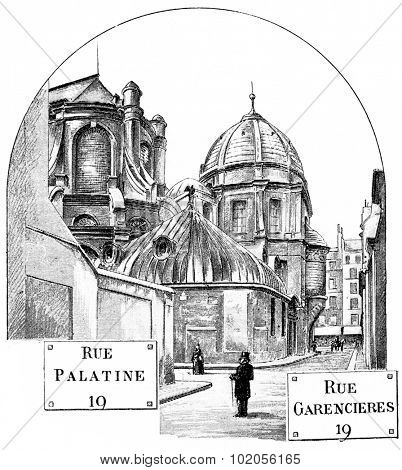 Apse of Saint-Sulpice, vintage engraved illustration. Paris - August 1890.