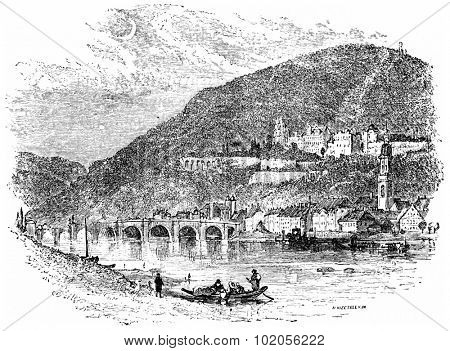 Heidelberg, vintage engraved illustration. From Chemin des Ecoliers, 1861.