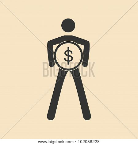 Flat in black and white man holding coin on