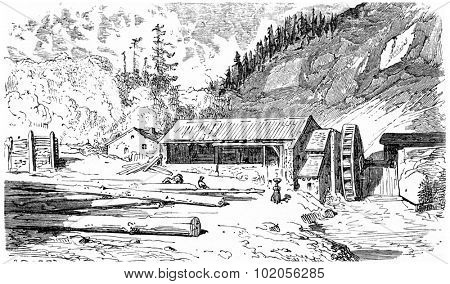 The sawmill, vintage engraved illustration. From Chemin des Ecoliers, 1861.