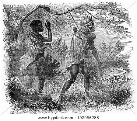 Bushmen hunting, vintage engraved illustration. Earth before man  1886.