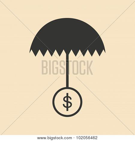 Flat in black white umbrella and dollar