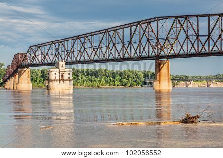 The Old Chain of Rocks bridge and historic water (intake) tower on the Mississippi River near St Louis
