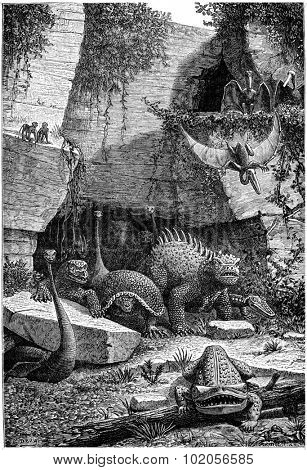 All these beings who have rights above and out of their graves today they seem not monsters, vintage engraved illustration. Earth before man  1886.