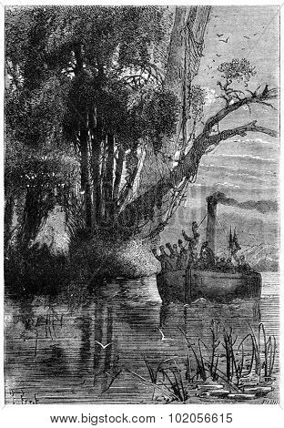 Was a final farewell, vintage engraved illustration. Jules Verne 3 Russian and 3 English, 1872.