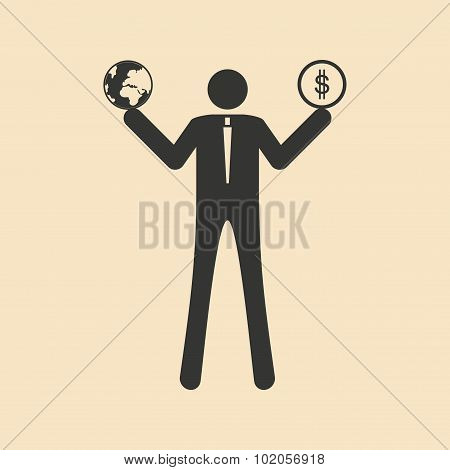 Flat in black white man holds Earth and money
