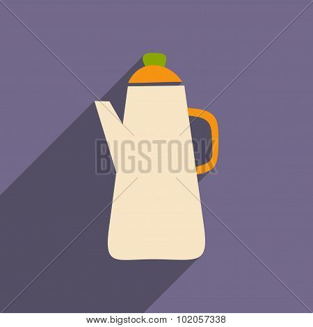 Flat with shadow icon and mobile application coffee maker