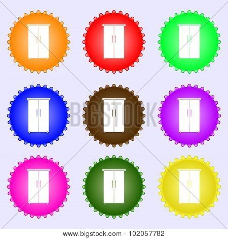 Cupboard Icon Sign. A Set Of Nine Different Colored Labels. Vector