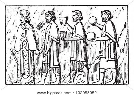 Dependent people (Bas-relief of Persepolis), vintage engraved illustration.