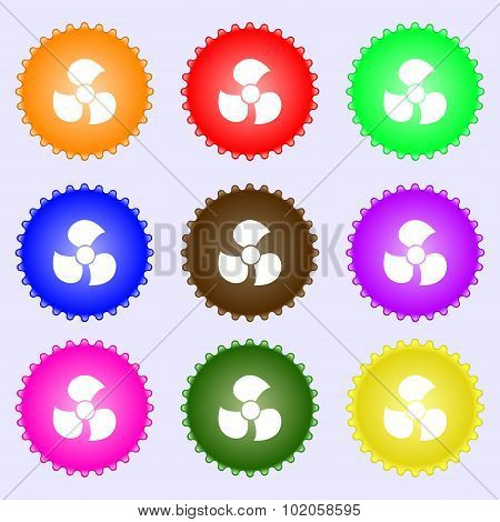 Fans, Propeller Icon Sign. A Set Of Nine Different Colored Labels. Vector